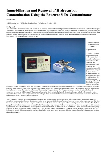 Immobilization and Removal of Hydrocarbon Contamination Using the Evactron®De-Contaminator