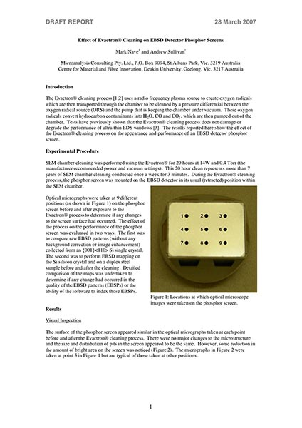 Effect of Evactron® Cleaning on EBSD Detector Phosphor Screens