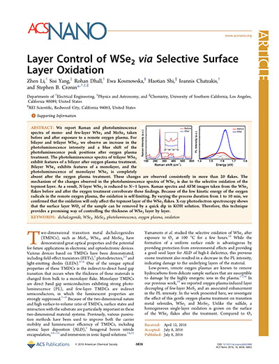 Layer Control of WSe2 via Selective Surface Layer Oxidation