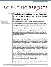 Depletion of potassium and sodium in mantles of Mars, Moon and Vesta by core formation