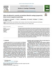 Effect of reflected Ar neutrals on tantalum diboride coatings prepared by direct current magnetron sputtering